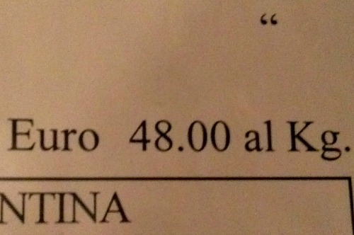 Price of steak on the menu in Florence is shown by kilo or by etto