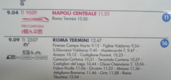 Examples of train information to go to Naples and Rome