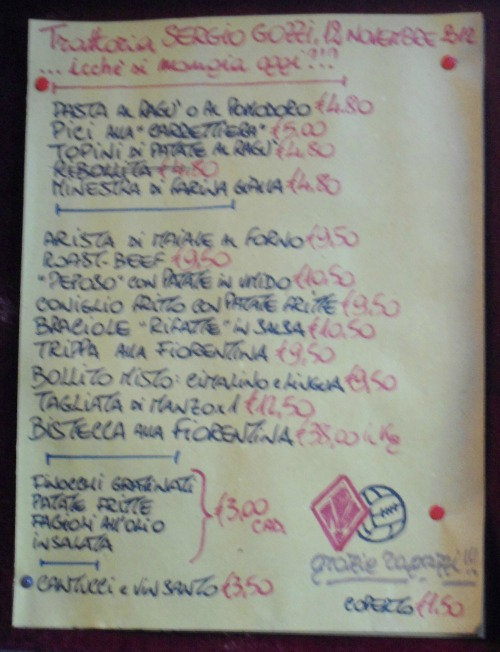 Hand written menu outside Gozzi