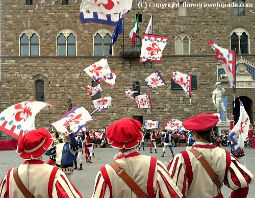 Florentine flag throwers are part of the marching procession celebrating the Florentine New Year in March
