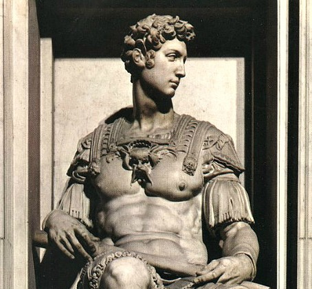 Sculpture by Michelangelo on Giuliano de Medici's tomb