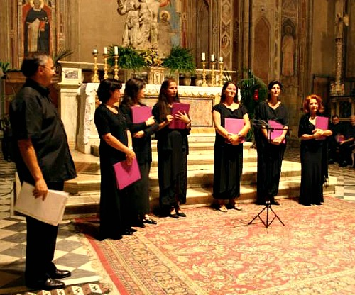 a chorus of singers who perform Gregorian chants in churches in Florence