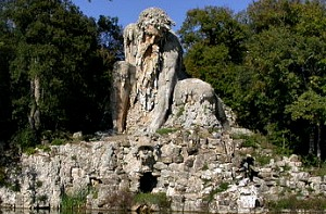 Giambologna's enormous statue 'Appennino', (1580) in the park of Villa Demidoff