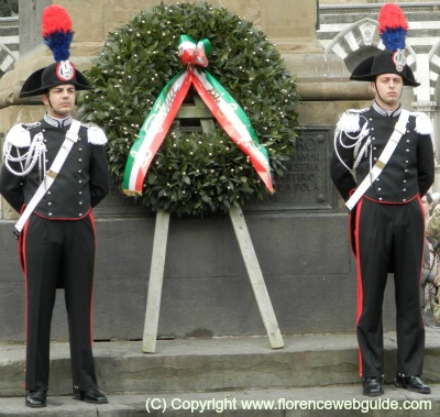 Carabinieri at a wreath laying ceremony for Liberation Day