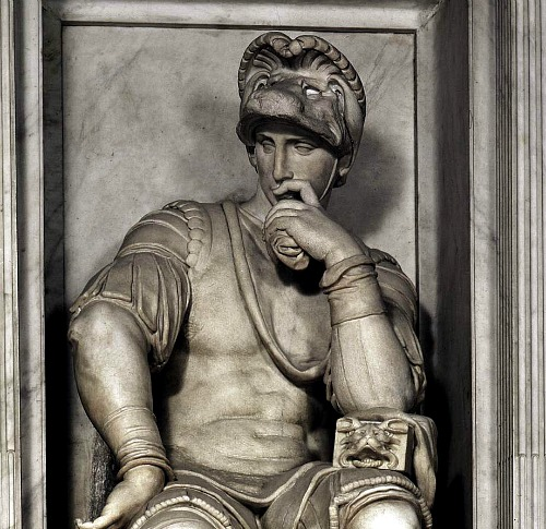 Sculpture by Michelangelo on Lorenzo II de Medici's tomb