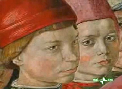 Authentic likeness of the two brothers, Lorenzo & Giuliano, amongst the crowd in Gozzoli's fresco