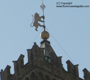 The Marzocco weather vane with giglio at top