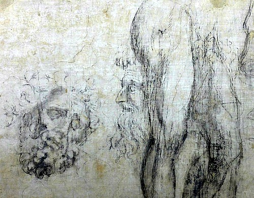 Sketches by Michelangelo found on the wall of an underground room at the Medici Chapel
