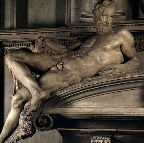 Sculpture 'Dusk', in Italian 'crepusculo', a masculine noun, therefore Michelangelo made Dusk in the likeness of a man