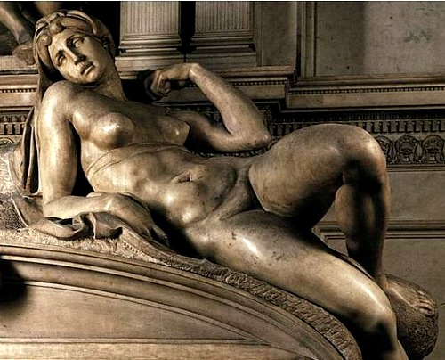 Michelangelo's 'Dawn', the second of the two female nudes that the maestro sculpted