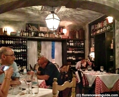 Rustic interior of old-style Osteria di Poneta in the Novoli area of Florence