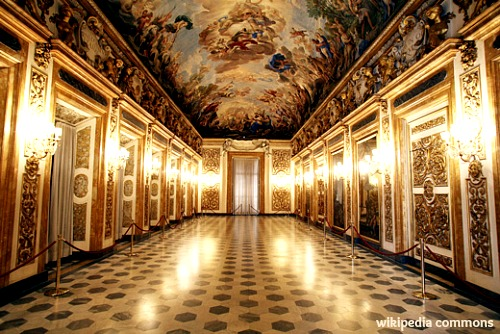 the Galleria room, where Hitler and Mussolini dined in 1938 - with ceiling frescoes painted by Luca Giordano (1680)