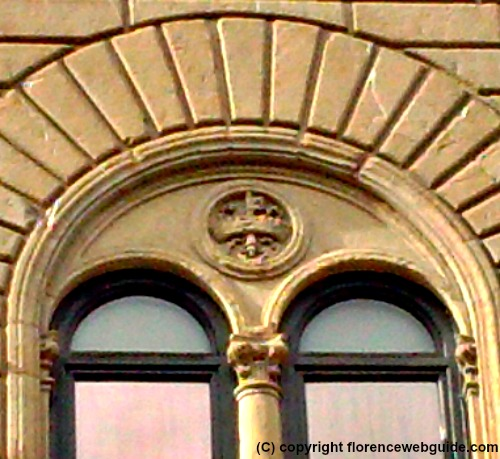 Riccardi family crest above window