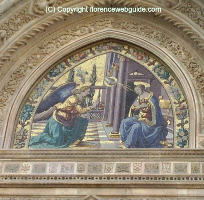 Detail of the Annunciation, a mosaic above the Almond Door