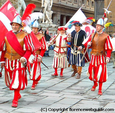 Marchers dressed in period pieces representing the Republic of Florence during the celebration for Anna de' Medici