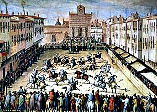 A painting of renaissance jousting event held in Santa Croce in 1500's (note how the church has not yet gotten its facade!)
