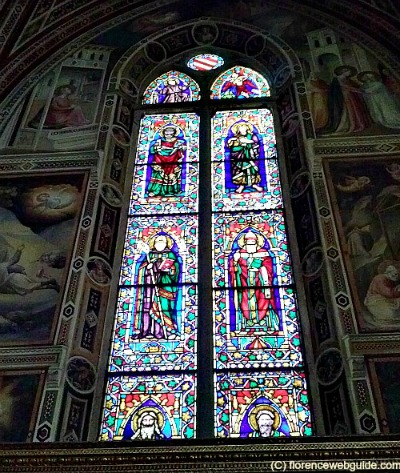 Stained glass window in the Baroncelli chapel