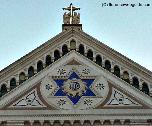 Star of David at the top of Santa Croce facade in Florence