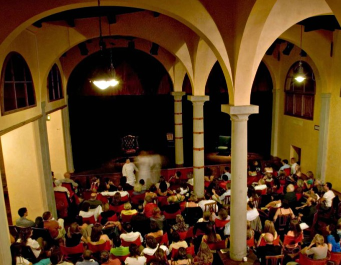 The stage and audience at the Teatro del Sale in Florence