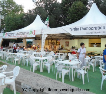 Tents and simple chairs make up the eatery at this traditional Italian event