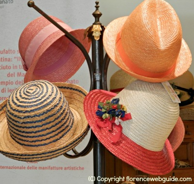 Handmade straw hats at Florence's creativity fair