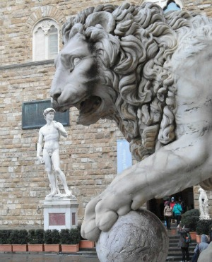 a shot of David in piazza Signoria Florence Italy