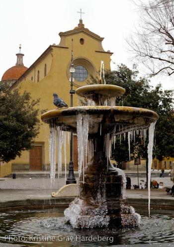 Frozen fountain in Santo Spirito