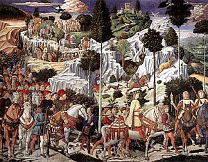 Wall mural by Florentine painter Bennozzo Gozzoli circa 1460 depicting the Wise Men as played by members of the Medici family