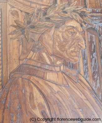 Dante etched in wood in Palazzo Vecchio