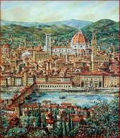 History of Florence - Arno and Duomo painting