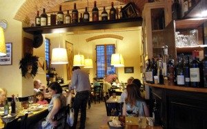 The interior of a typical Florence trattoria