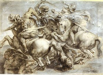 a reproduction of Leonardo's Battle of Anghiari done by Rubens - photo Wikipedia