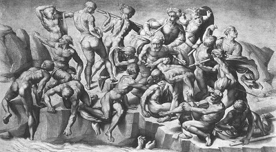 reproduction of Michelangelo's Battle of Cascina, photo Wikipedia