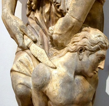 close up detail of Donatello's statue the Sacrifice of Isaac