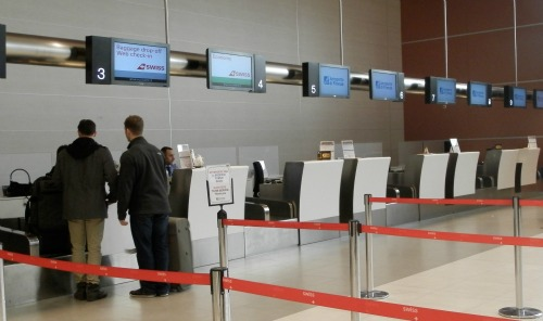 Checking in at Peretola airport in Florence in low season