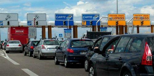Toll area on Italian highway