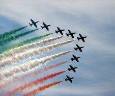 Part of the Italian Air Force, the Frecce Tre Colori perform to celebrate the Italian Republic
