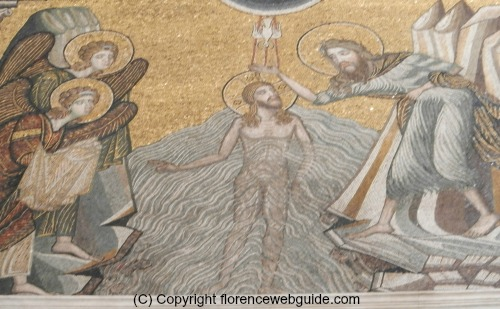 Mosaic dome ceiling detail, Christ baptised