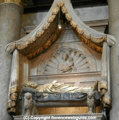 detail of funeral monument to Baldassare Cossa, antipope