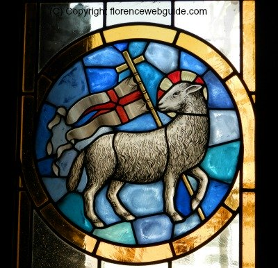Stained glass window showing the Holy Lamb in the basilica
