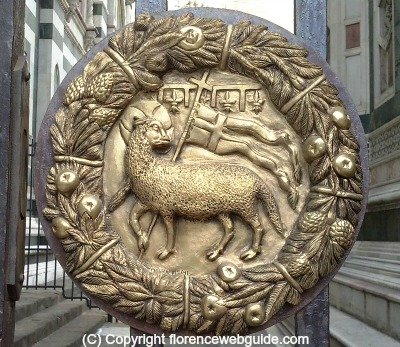 the Holy Lamb is the symbol of the Wool Guild, overseers of the church's construction