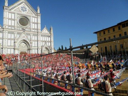 Santa Croce church during Calcio Storico, renaissance football