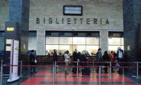 Line at the ticket counter at the Santa Maria Novella train station in Florence