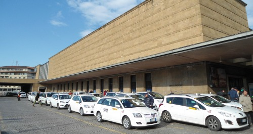 Taxi rank in Florence Italy Train Station