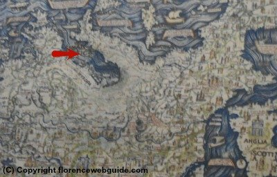 'upside-down' world map from 1500's
