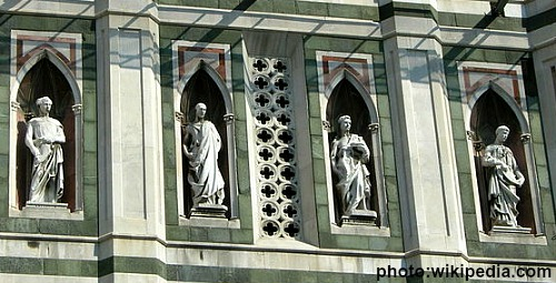 Row of Donatello's statues on the tower