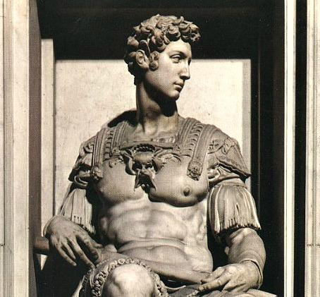 Sculpture by Michelangelo on Giuliano de Medici's tomb