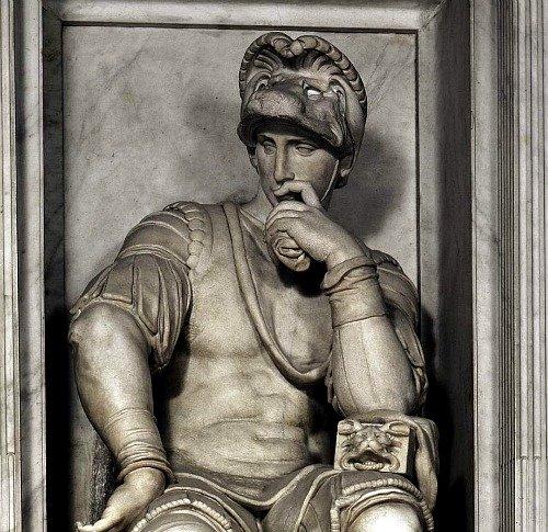 Sculpture by Michelangelo on Lorenzo II de Medici's tomb