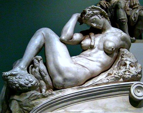 Sculpture 'Night', one of Michelangelo's only two sculptures of a female nude
