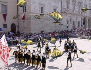 Flag masters at Medieval fair